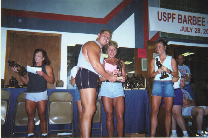 Receiving first place trophies